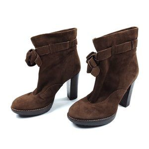 Paul Smith Brown Suede Leather Heeled Ankle Boots